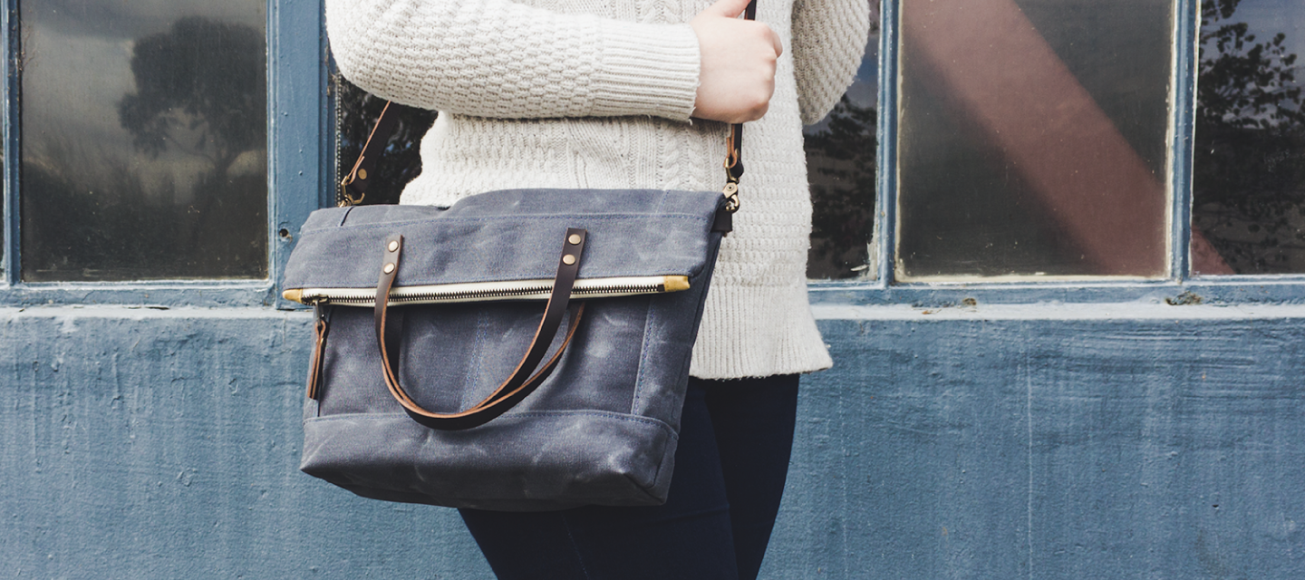 Thread & Canvas Co | Slate Waxed Canvas Foldover Crossbody Bag | Angled View