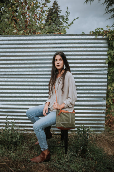 Olive Green Suede Slouchy Crossbody Bag | Thread & Canvas Co.