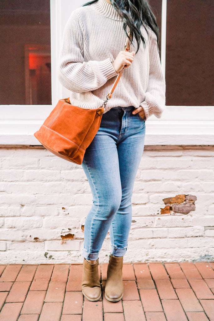 Rust Red Suede Slouchy Crossbody Bag | Thread & Canvas Co.