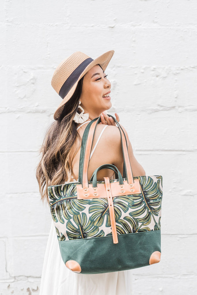 Monstera Leaf Everyday Tote | Forest Green