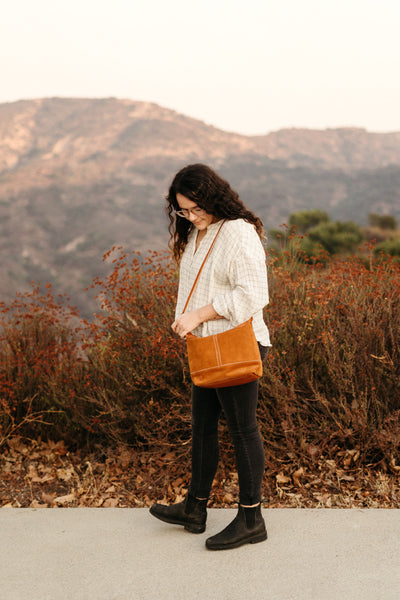 Honey Brown Suede Slouchy Crossbody Bag | Thread & Canvas Co.