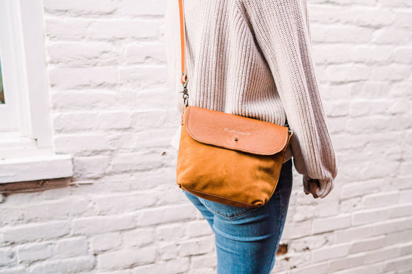 Honey Brown Suede Mini Crossbody Bag | Thread & Canvas Co.