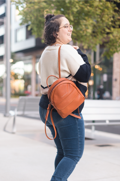 Caramel Leather Backpack Purse | Thread & Canvas Co.
