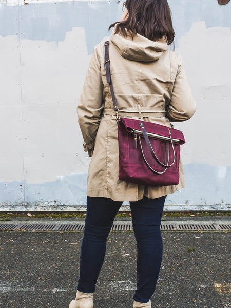 Thread & Canvas Co. | Waxed Canvas Foldover Crossbody Bag in Merlot Purple | Styled Shot