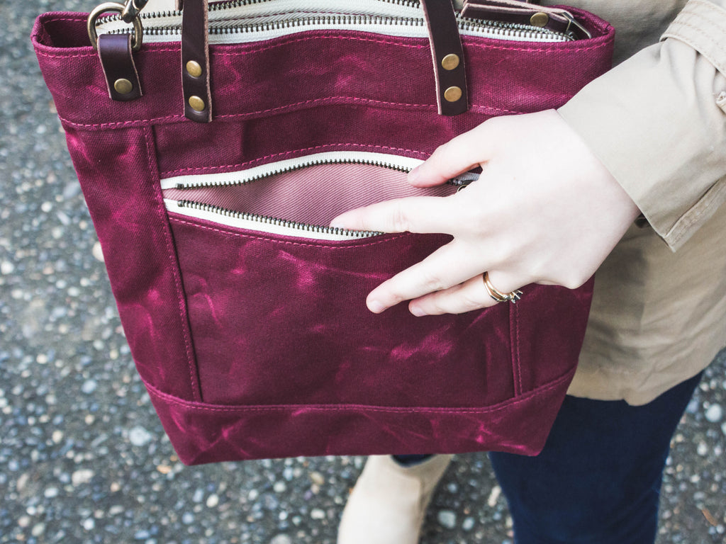 Purple Waxed Canvas Crossbody Bag | Thread & Canvas Co.