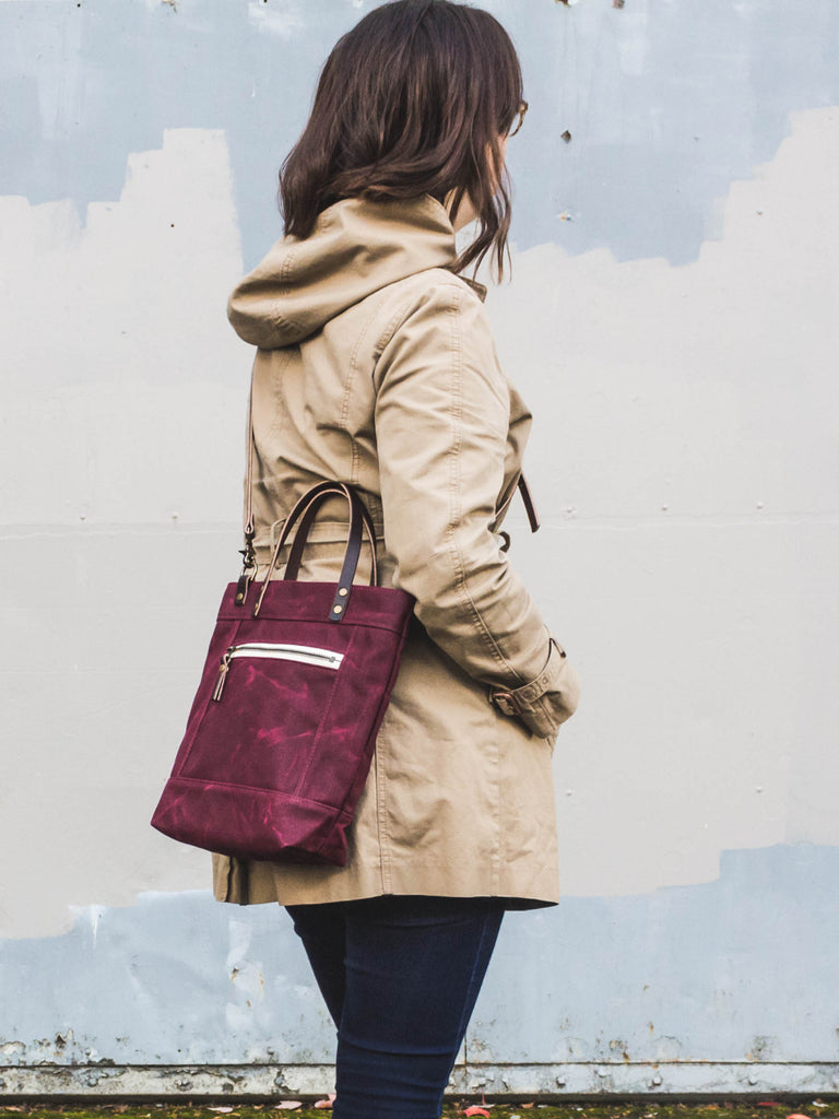 Thread & Canvas Co. | Waxed Canvas Crossbody Bag in Merlot Purple | Styled Shot