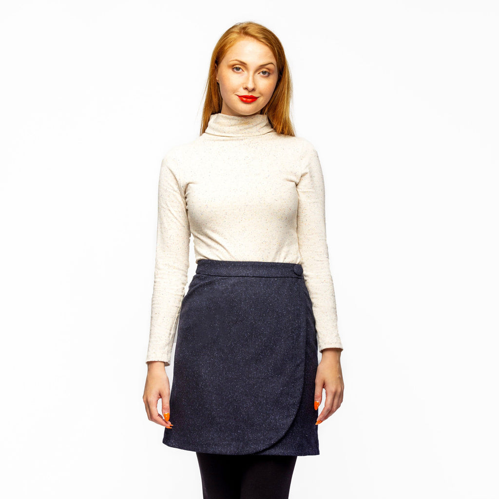WRAP SKIRT NAVY FLECK