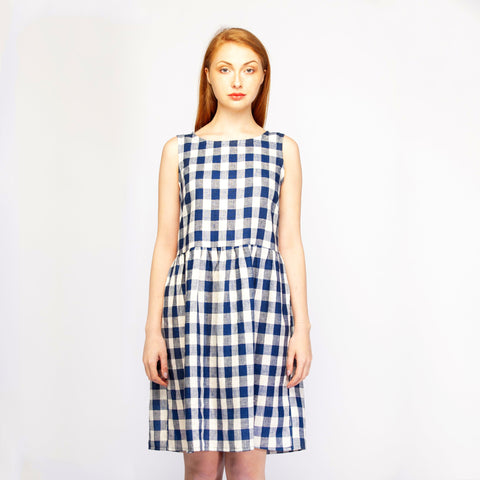 Navy Check Dress No Sleeves