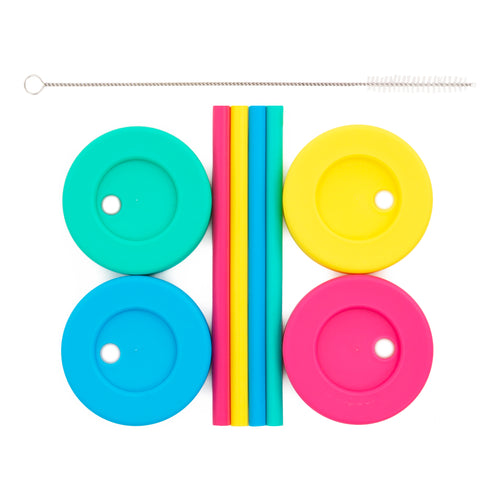 Regular Mouth Straw Lids + Straws - 4 Pack