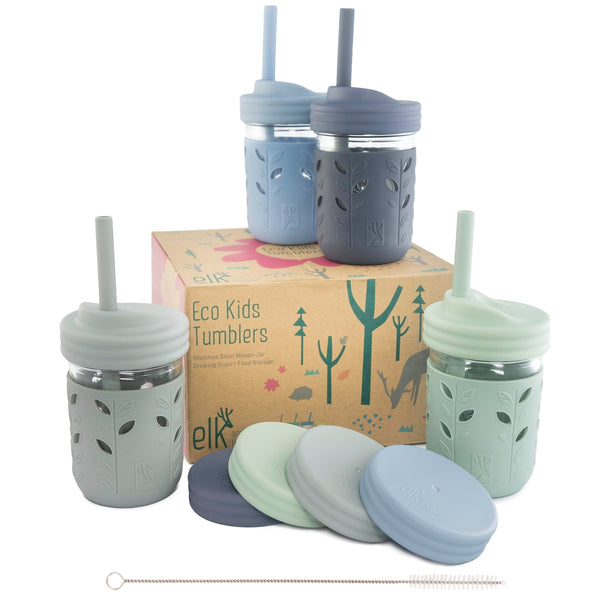 8oz Glass Mason Jar Drinking Tumblers + Food Storage (Sage/Navy/Grey/Misty Blue)