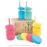 8oz Glass Mason Jar Drinking Tumblers + Food Storage (Pink/Teal/Yellow/Blue)