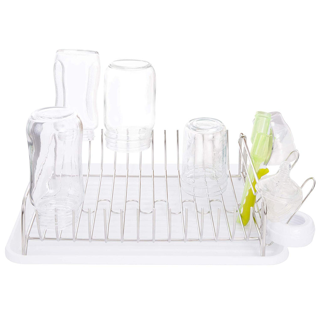 Countertop Dryer Rack with Drainer Black Tray Mason Jars /& Sippy Cup Organizer Elk and Friends Stainless Steel Baby Bottle Drying Rack Glasses