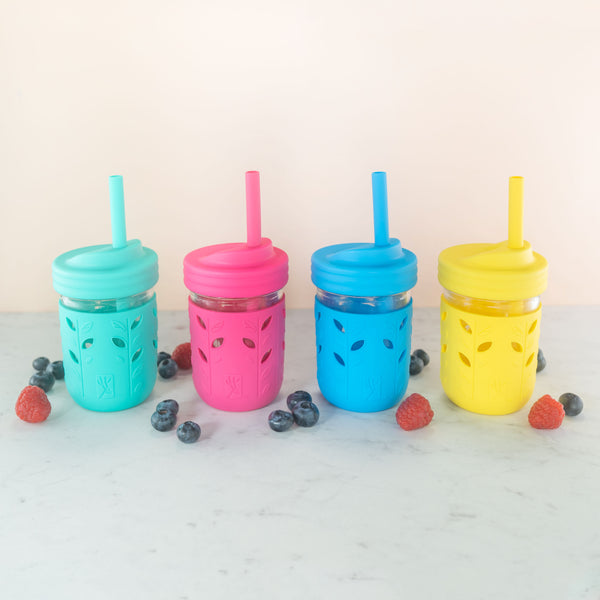 8oz Glass Mason Jar Drinking Tumblers + Food Storage (Pink/Teal/Yellow/Blue/Green/Orange)