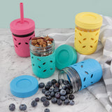 8oz Glass Mason Jar Drinking Tumblers+ Food Storage (Pink/Teal/Yellow/Blue)