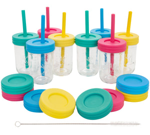 Glass 8oz Mason Jar Drinking Tumblers + Food Storage 8 PACK (Pink, Teal, Yellow & Blue) - No Sleeves