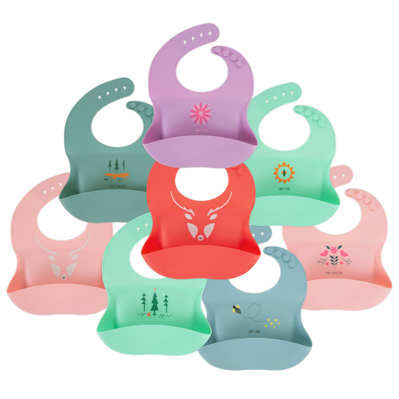 "Silicone Baby Bibs | Unique Eco Designs | Easy to Clean | Blush ""Planet Protector"""