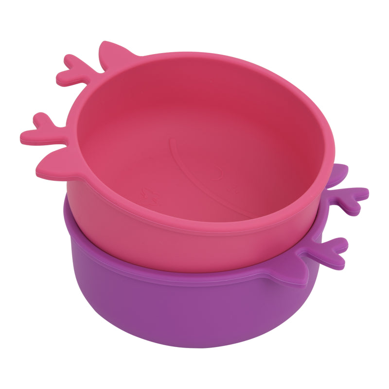 Silicone Toddler Baby Bowls + Spoons (Pink & Purple)