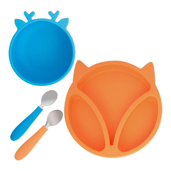 Silicone Toddler Baby Divided Plate + Silicone Bowl + Spoons (Orange & Blue)