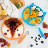 Silicone Toddler Baby Plates + Spoons (Orange & Blue)
