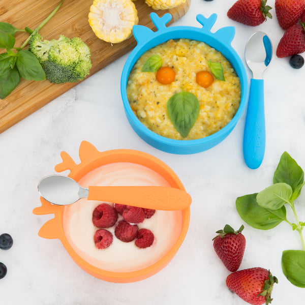 Silicone Toddler Baby Bowls + Spoons (Orange & Blue)