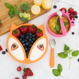 Silicone Toddler Baby Divided Plate + Silicone Bowl + Spoons (Orange & Pink)