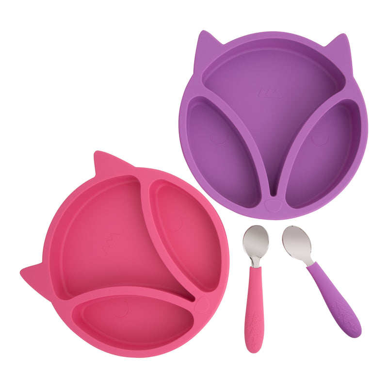 Silicone Toddler Baby Plates + Spoons (Pink & Purple)