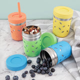 Stainless Steel 10oz Drinking Tumblers + Food Storage (Green/Orange/Blue/Yellow)