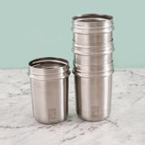 Stainless Steel 10oz Drinking Tumblers + Food Storage (Green/Orange/Yellow/Blue)