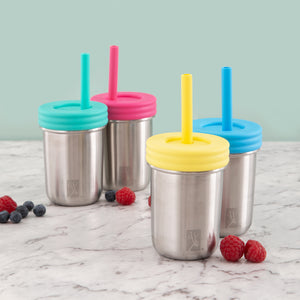 Stainless Steel 10oz Drinking Jars + Food Storage - 4 Pack (Without Sleeves)