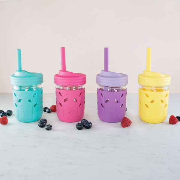8oz Glass Mason Jar Drinking Tumblers + Food Storage (Purple/Pink/Teal/Yellow)
