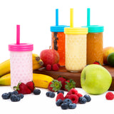 12oz Glass Mason Jar Drinking Tumblers + Food Storage (4 Pack - No Sleeves)