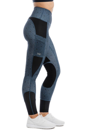 HW Riding Tights, Navy Polka Dot