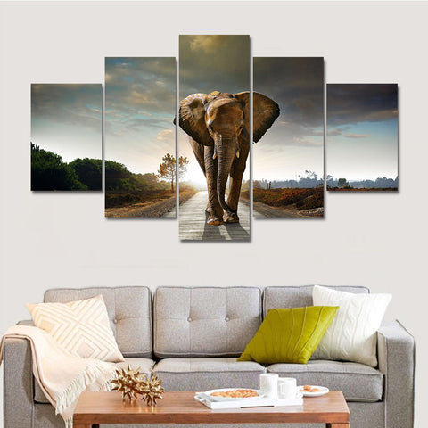African Elephant 5 Panel Canvas (unframed)