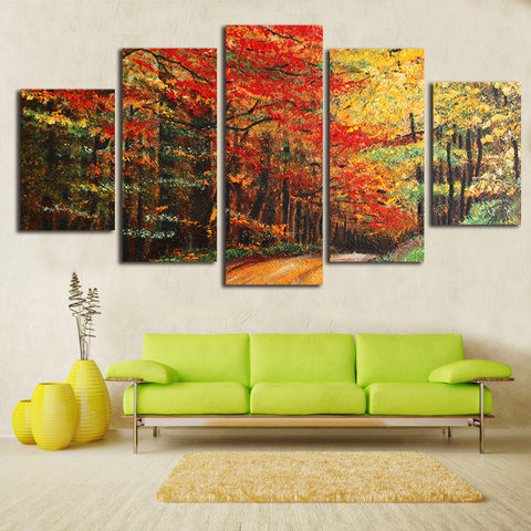 """Autumn Fire"" Canada Maple 5 Piece Canvas Oil Painting (unframed)"