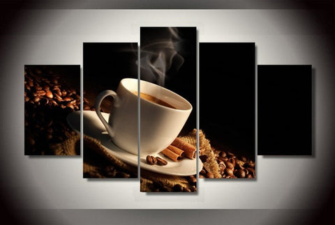 """Wake Up & Smell the Coffee"" 5 piece canvas art (unframed)"