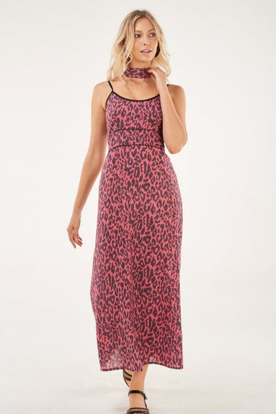 Dress Strappy Maxi Coral Leopard