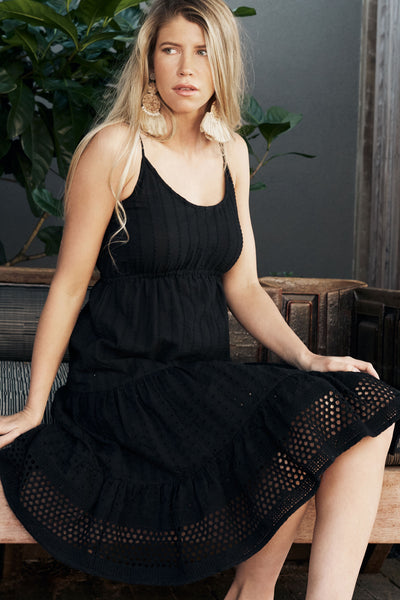 Dress Lace Jet Black Cotton