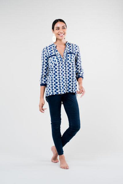 Top Resort Shirt Abstract Indigo