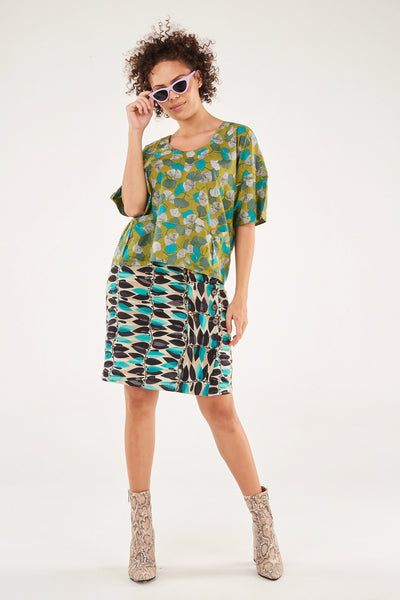 Skirt Side Button Turquoise Vine