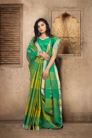 SIGNORAA GREEN KANCHIPURAM SOFT SILK SAREE-KSL02508 - View 1
