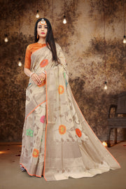 SIGNORAA BEIGE FANCY MERCERISED COTTON SAREE-FCT08835 - View1
