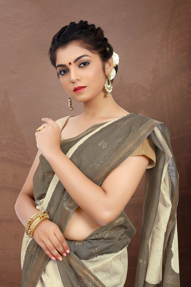 SIGNORAA BEIGE FANCY MAHESHWARI COTTON SAREE-FCT08825 - VIEW 2