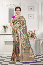 SIGNORAA NAVY BLUE PAITHANI SEMI SILK SAREE-PTN00127- View 1