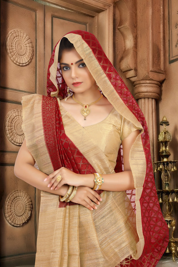 SIGNORAA RED BANARASI TUSSAR SILK SAREE-BSK07788 - View 2