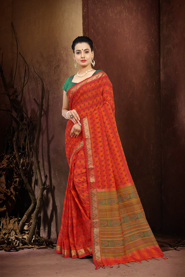 SIGNORAA ORANGE FANCY COTTON SAREE-FCT08457 - VIEW 1