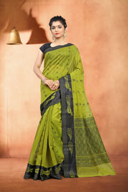 SIGNORAA MEHENDI GREEN  SILK COTTON SAREE-CCC01454 - VIEW 1