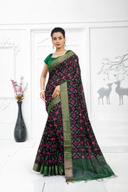 SIGNORAA BLACK JUTE TUSSAR SILK SAREE-PTS04373 - VIEW 1
