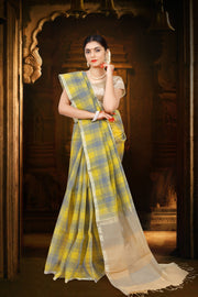 SIGNORAA YELLOW LINEN SAREE-KSL02498 - View 1
