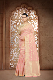 SIGNORAA PINK BANARASI MERCERISED COTTON SAREE-BSK07615 - View 1