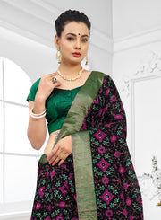 SIGNORAA BLACK JUTE TUSSAR SILK SAREE-PTS04373 - VIEW 2